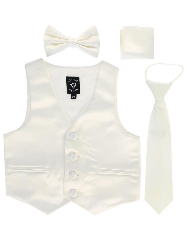 Boys Ivory Satin Vest Set (3-6 mths to 14) - Malcolm Royce