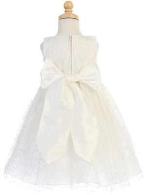 Ivory Glitter Tulle Flower Girl Dress w/ Rose Sash & Flower