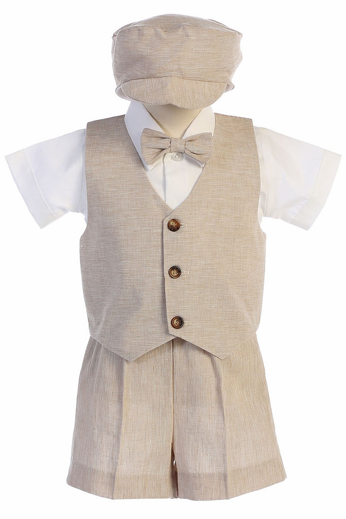 Toddler Khaki Cotton Linen Vest Shorts Suit 834 - Malcolm Royce