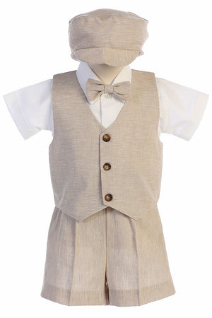 Toddler Khaki Cotton Linen Vest Suit w/ Shorts