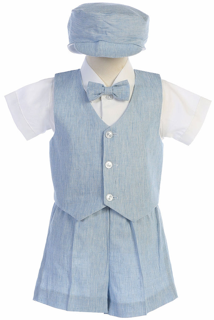 Toddler Light Blue Cotton Linen Vest Shorts Suit 834 - Malcolm Royce