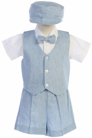 Toddler Light Blue Cotton Linen Vest Suit w/ Shorts