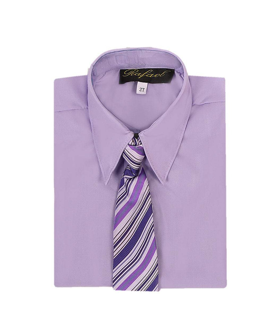 Boys Lilac Formal Dress Shirt and Tie - Malcolm Royce