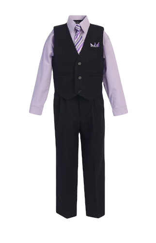 Boys Pinstripe Vest Suit with Lilac Shirt and Tie