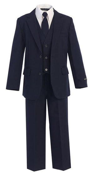 Full view of a smart navy boys suit