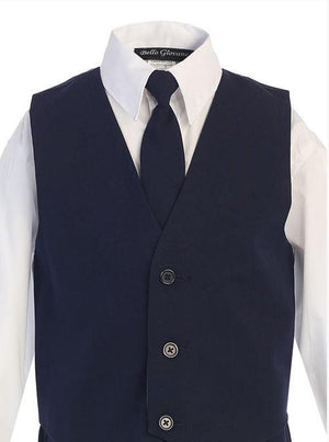 Close up of the navy vest for a boys suit