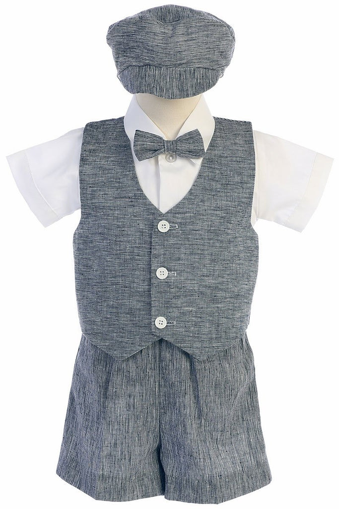 Linen, Navy, Short Set, Vest Suit
