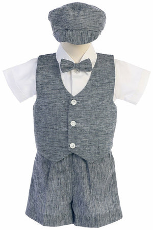 Toddler Navy Cotton Linen Vest Suit w/ Shorts