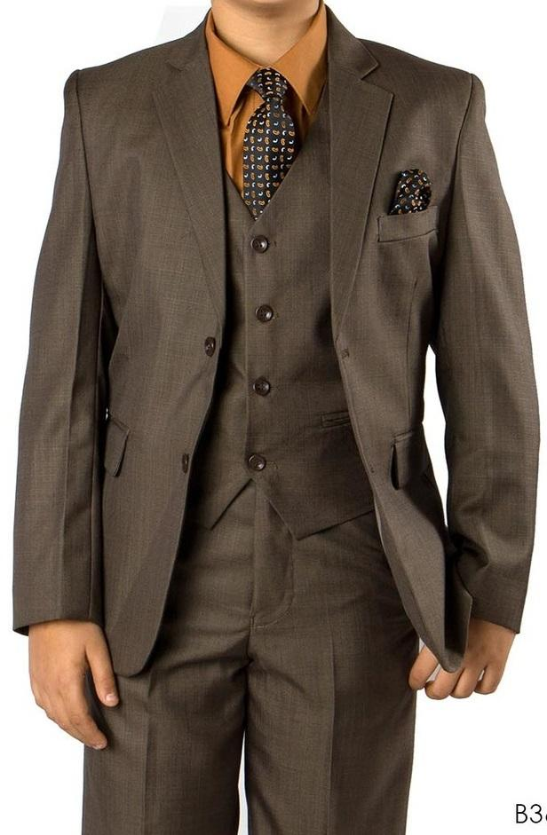 Boys Olive Brown Executive Suit 6PC361 06 - Malcolm Royce