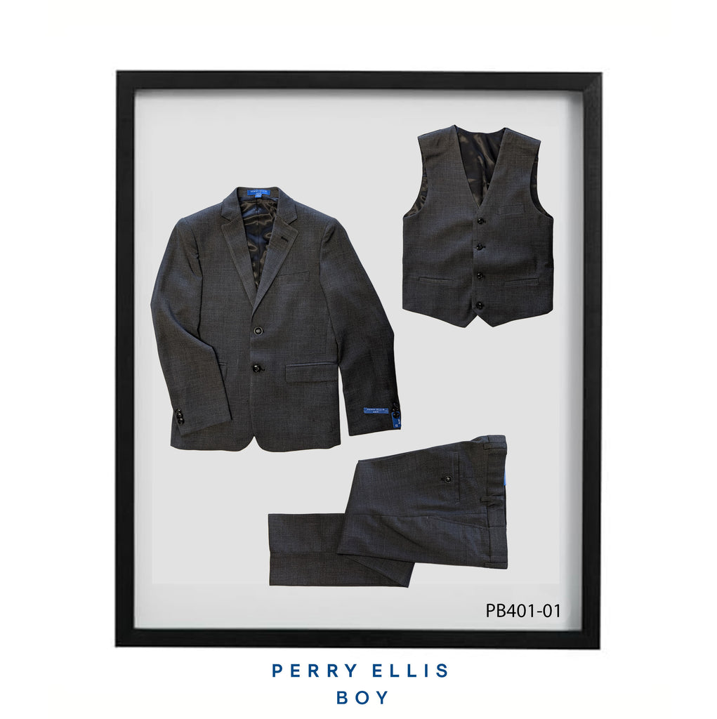 Dark Grey 3 Piece Perry Ellis Textured Suits For Boys PB401-01 - Malcolm Royce