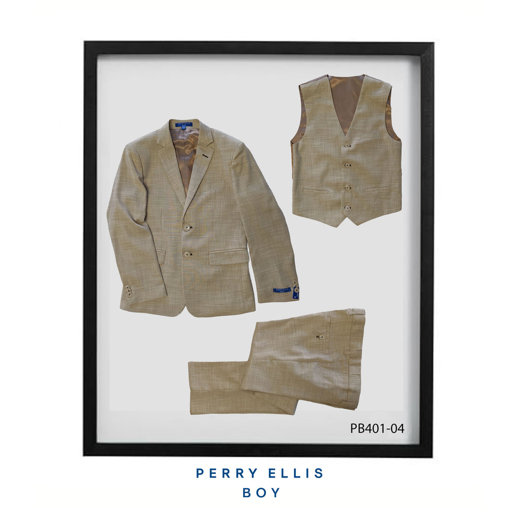 Beige 3 Piece Perry Ellis Textured Suits For Boys PB401-04 - Malcolm Royce