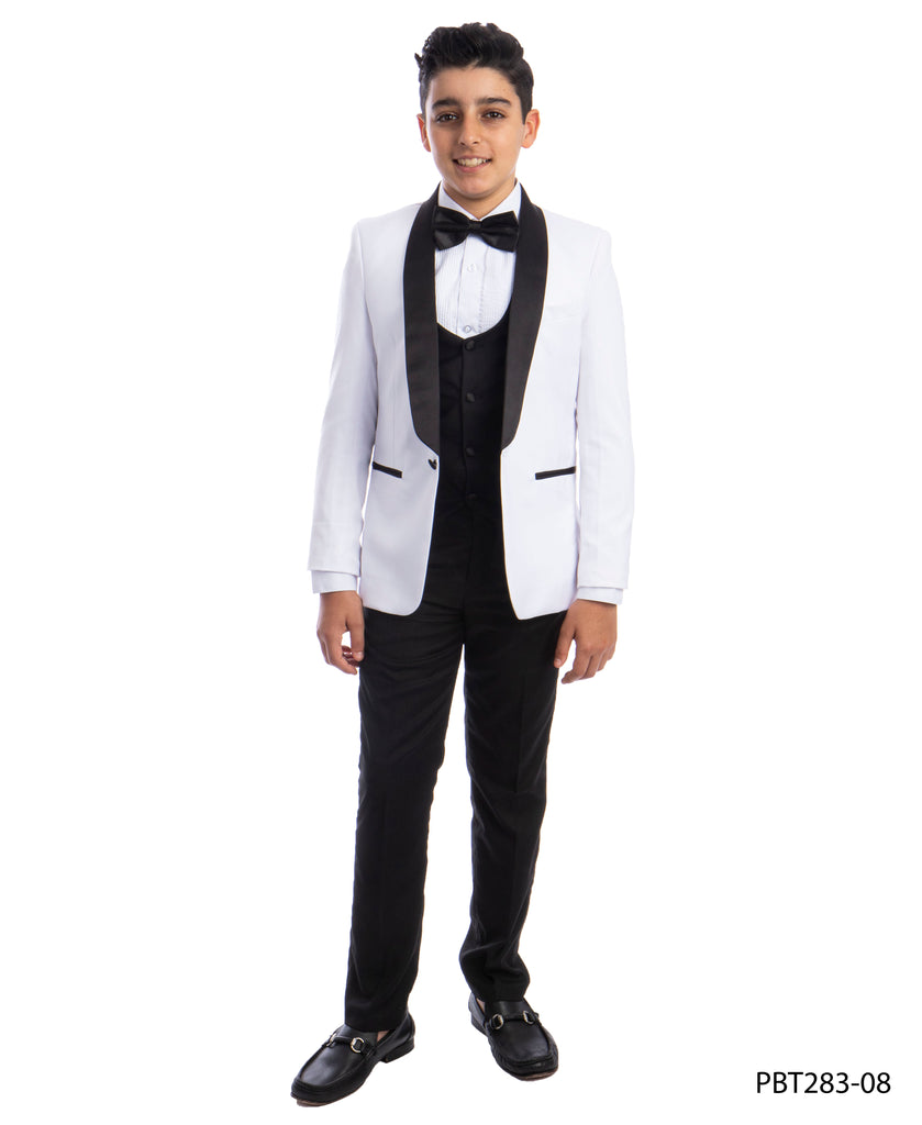 Perry Ellis Boys Tuxedo  White  Shawl Collar Tuxedos For Boys - Malcolm Royce