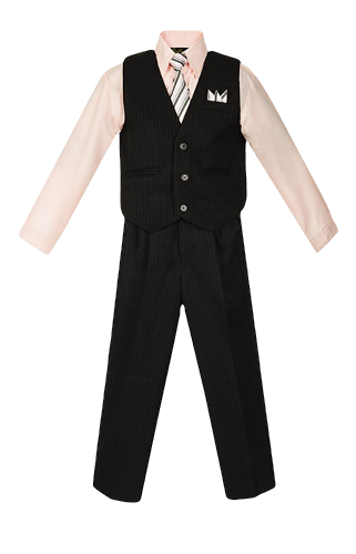 Boys Pinstripe Vest Suit with Pink Shirt and Tie