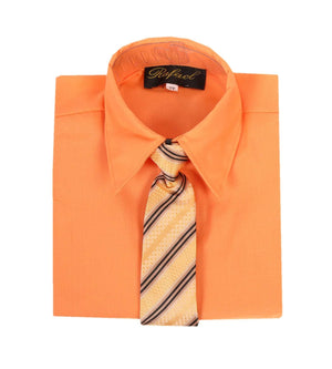 Boys Pumpkin Orange Long Sleeve Formal Dress Shirt and Tie