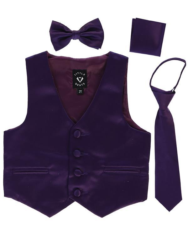 Boys Purple Satin Vest Set (3-6 mths to 14) - Malcolm Royce