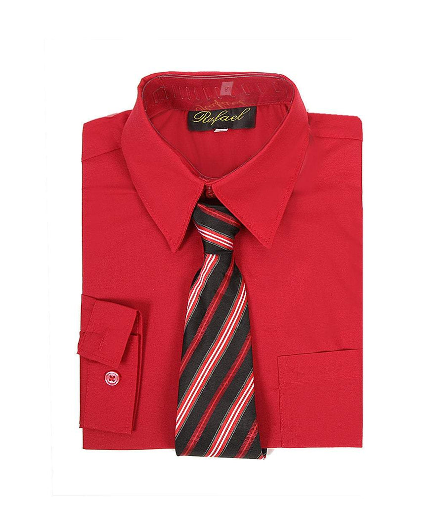 Boys Red Long Sleeve Formal Dress Shirt and Tie - Malcolm Royce