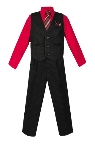 Boys Pinstripe Vest Suit with Red Shirt and Tie - Malcolm Royce