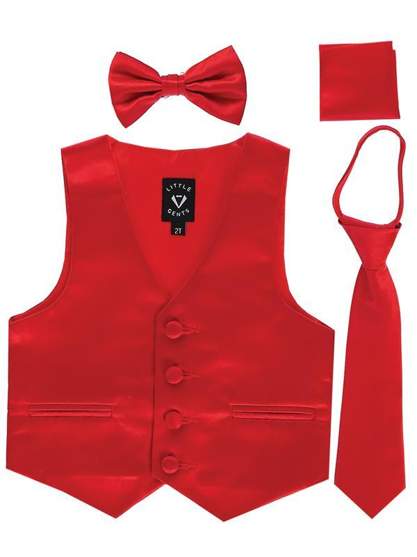 Boys Red Satin Vest Set (3-6 mths to 14)
