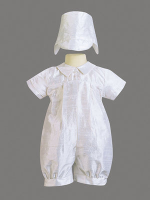 Boys Antique White Silk Baptism & Christening Romper with Hat - (Conner)