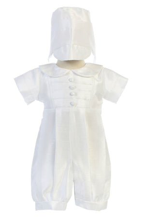 Boys Baby White Christening & Baptism Romper Suit with Bonnet - William