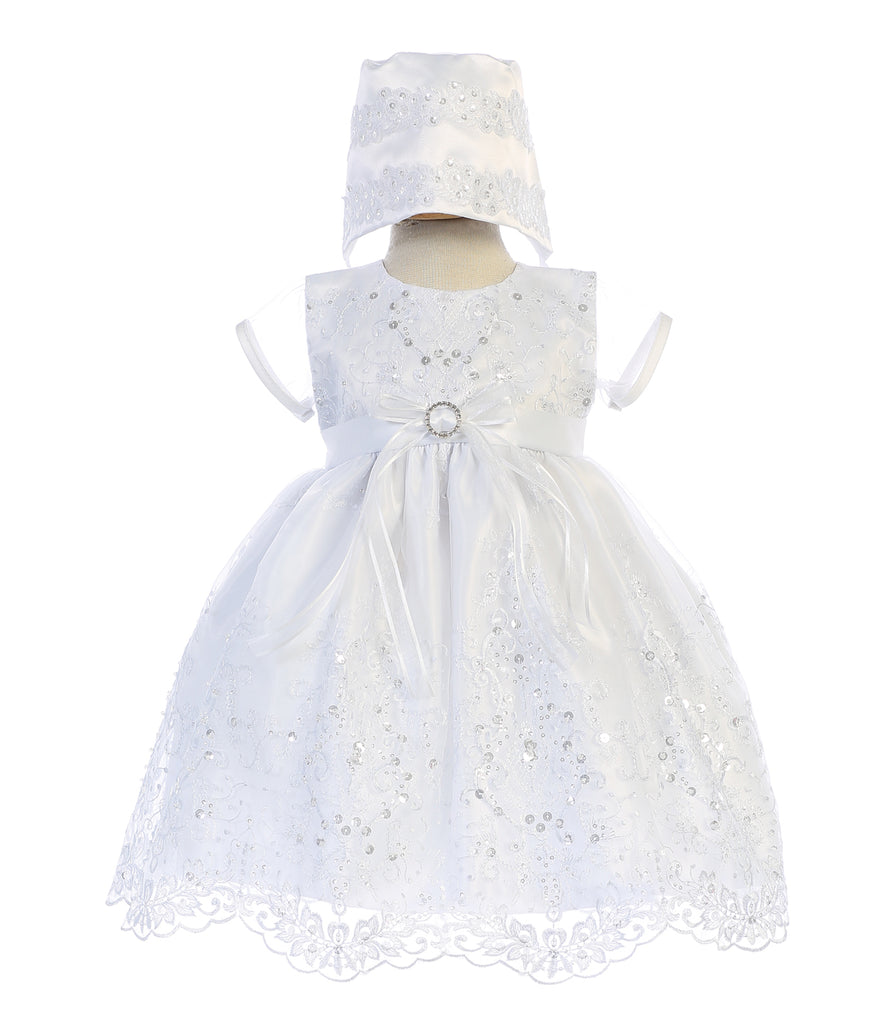 Girls Christening & Baptism White Gown - Sage - Malcolm Royce