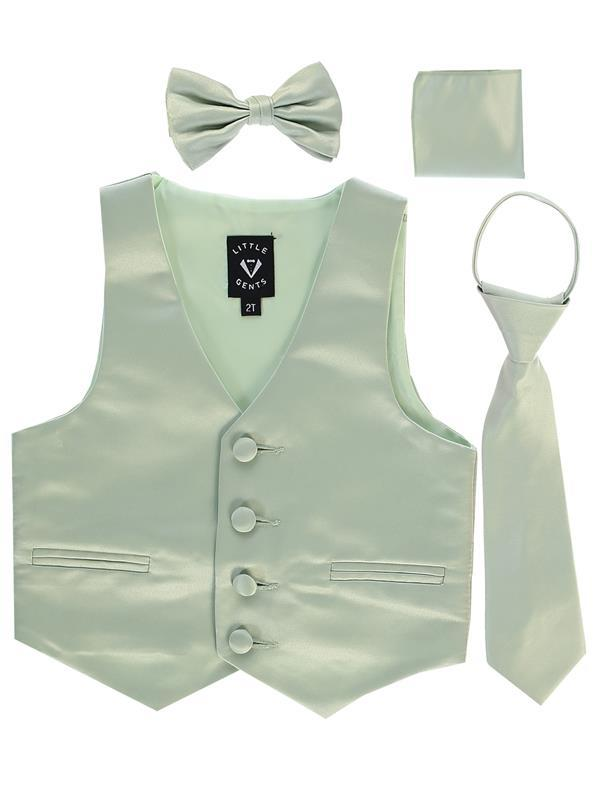Boys Sage Satin Vest Set (3-6 mths to 14) - Malcolm Royce