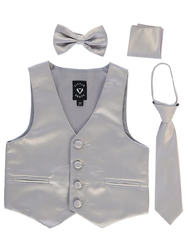 Boys Silver Satin Vest Set (3-6 mths to 14) - Malcolm Royce
