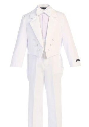 Boys White Long Tail Tuxedo