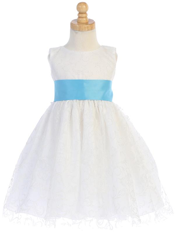 White Glitter Tulle Flower Girl Dress w/ Choice Satin Sash & Bow (7-77) - Malcolm Royce