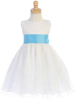 White Glitter Tulle Flower Girl Dress w/ Choice Satin Sash & Bow