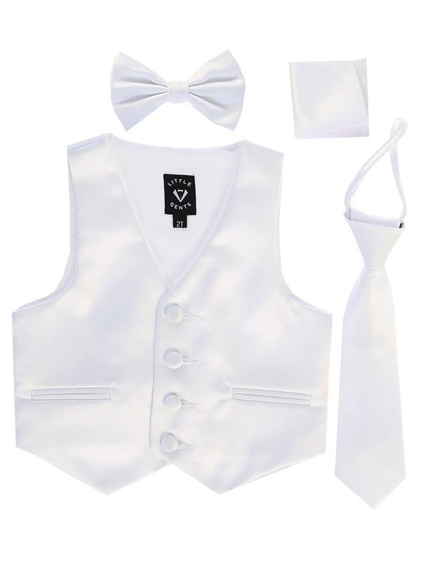 Boys White Satin Vest Set (3-6 mths to 14) - Malcolm Royce