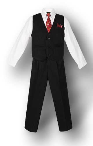 Black, Pinstripe, Vest Suit, White