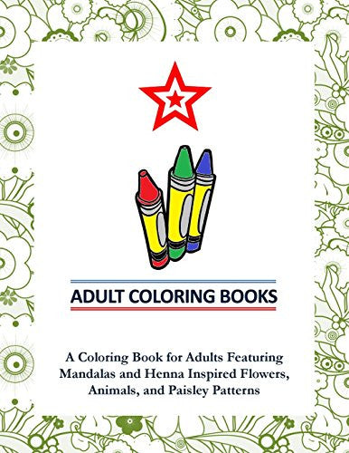 "Mandalas,Henna,Flowers,Animals Patterns"" - Adult Coloring Books"