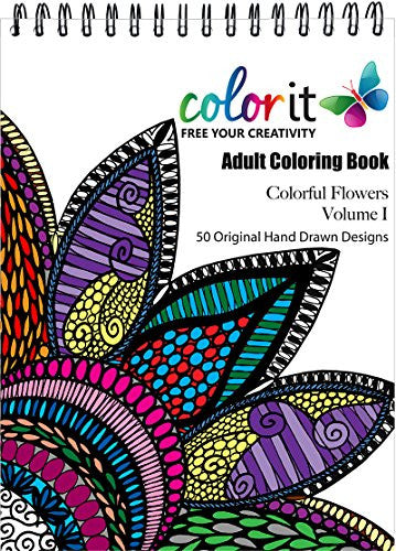 """ColorIt - Colorful Flowers"" - Adult Coloring Book Volume 1"
