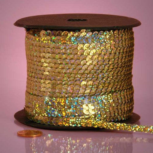 PEPPERLONELY Brand 80 Yard/Roll Holographic Faceted Sequin Trim Gold