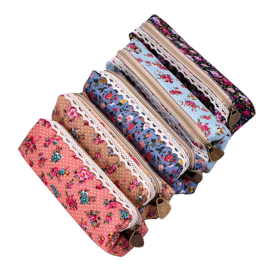 eBoot Flower Pattern Zipper Canvas Pencil Case