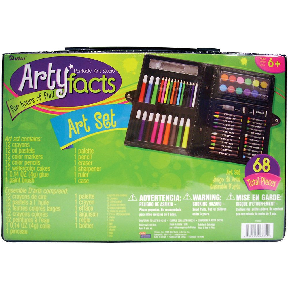 Darice 68-Piece Art Set Colored Pencils Kids Gift