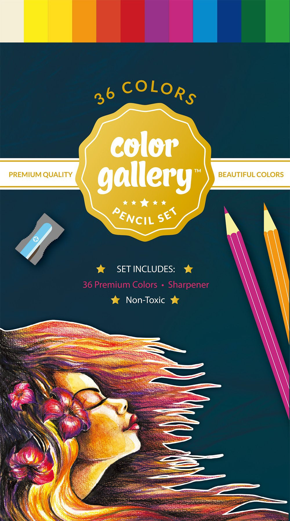 Color Pencil Set 36 pieces with Sharpener
