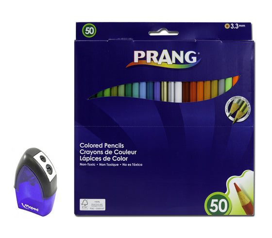 Bundle - 50 Brilliant Colored Pencils with Pencil Sharpener