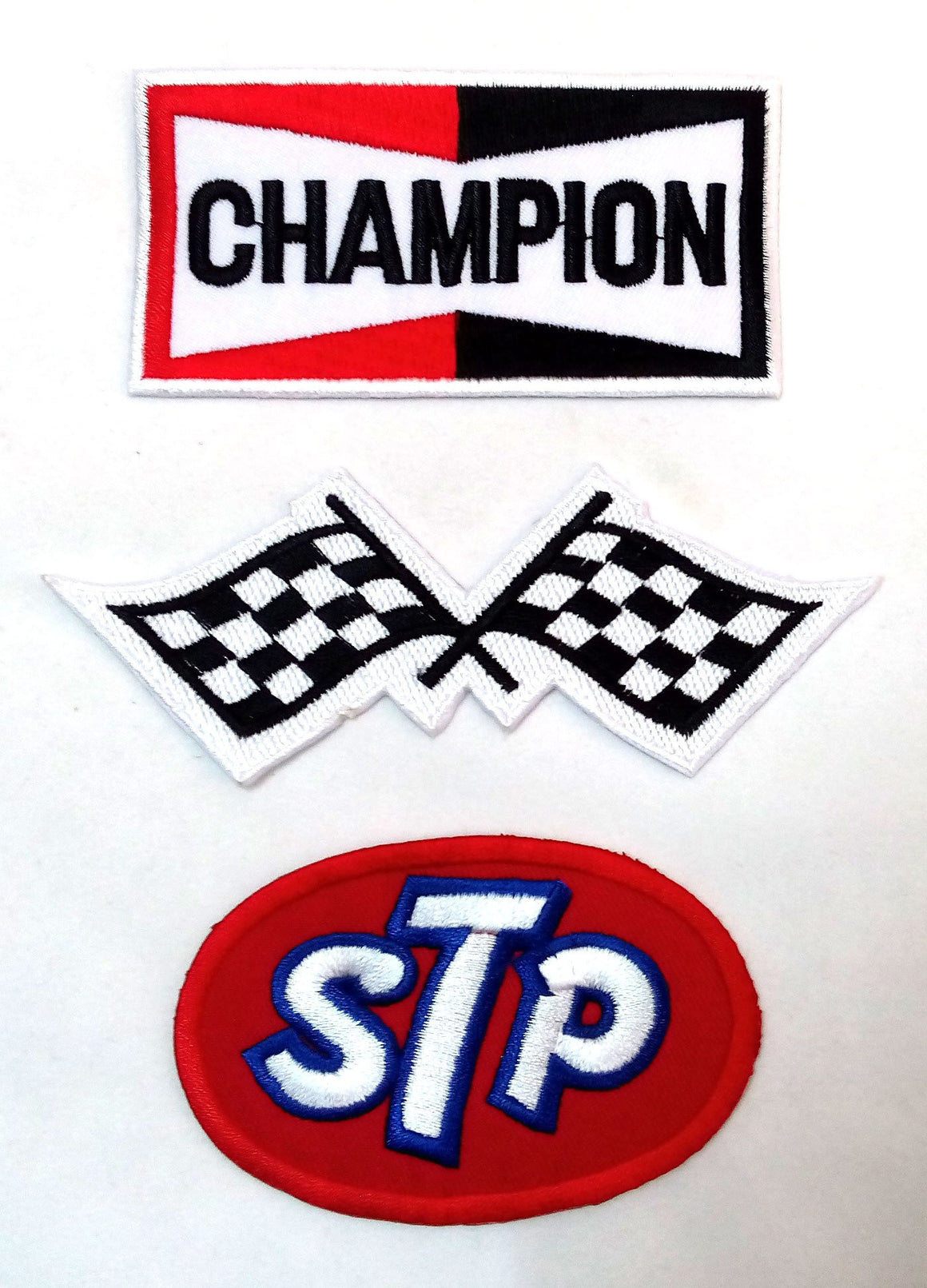 Set_MOTOR001 - STP Oil Patch Auto Racing Patches Set - Motor Patches - Applique Embroidered patches - Iron on Patches - Backpack Patches - Champion Patch Racing Flag Patch STP Oil Patches
