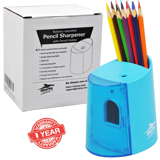 Pencil Sharpener with Pencil Holder - Azure blue