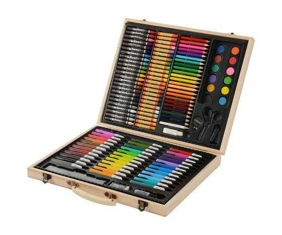 ArtEcolor Portable Art Set - 131 piece Kid's wood coloring Case - Colored pencils Set