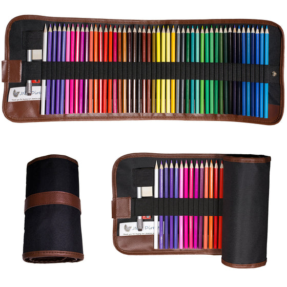 Colored Pencils - 48 Pieces with Case and Accessories