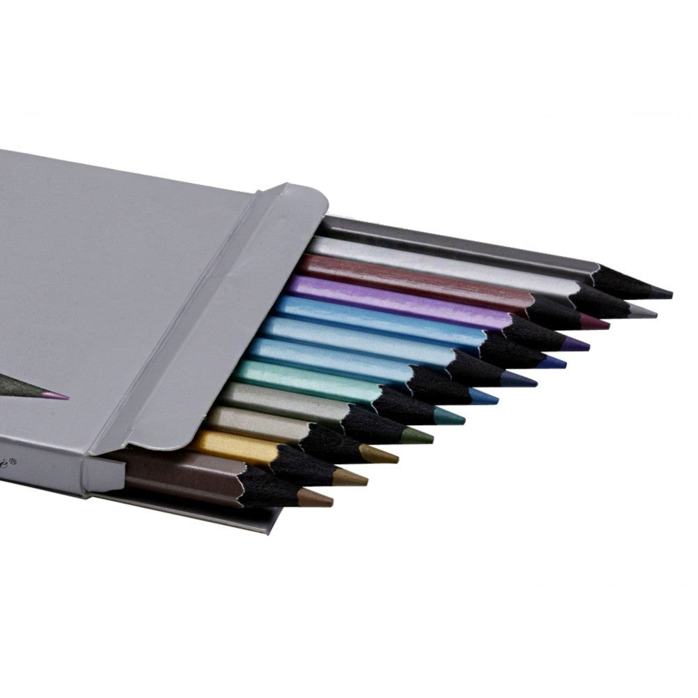 12 Metallic Colored Pencils Non-toxic For Drawing & Sketching