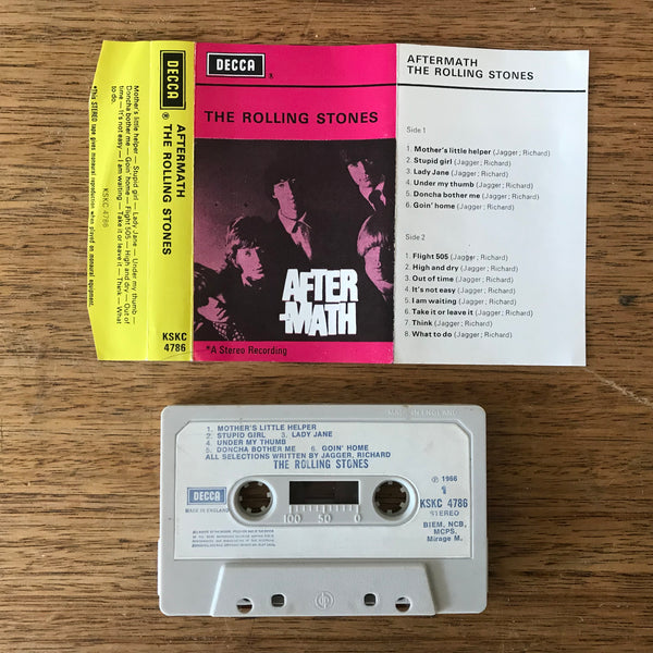 "The Rolling Stones ‎– ""Aftermath"", UK Decca (white paper labels) Cassette Tape. Stereo, Non-Dolby."