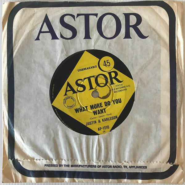Justin & Karlsson ‎– Somewhere They Can't Find Me, 1966 Australian Astor AP-1210