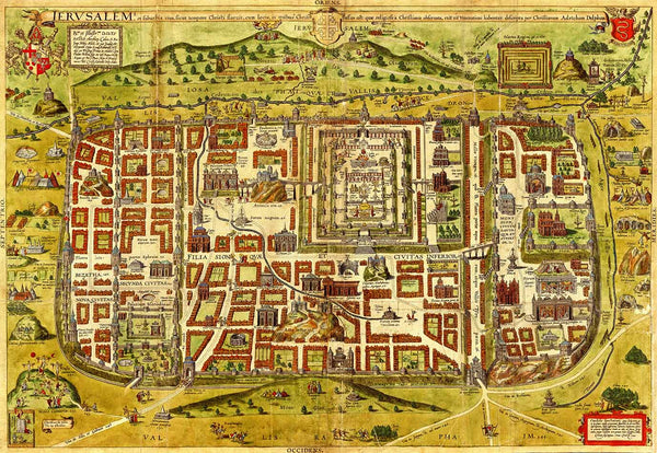 Map of Jerusalem from the 16th century by Christian Kruik van Adrichem