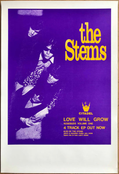 "The Stems, Dom Mariani, 1986 Orig EP Promo Poster ""Love Will Grow"""