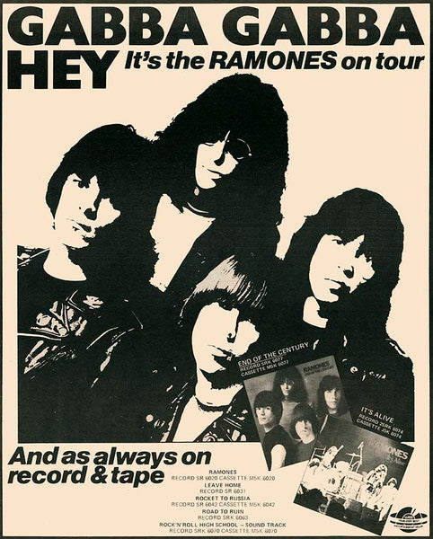 The Ramones 1980 Australian tour - Gabba Gabba Hey, Archival Giclee Print. Repro Poster