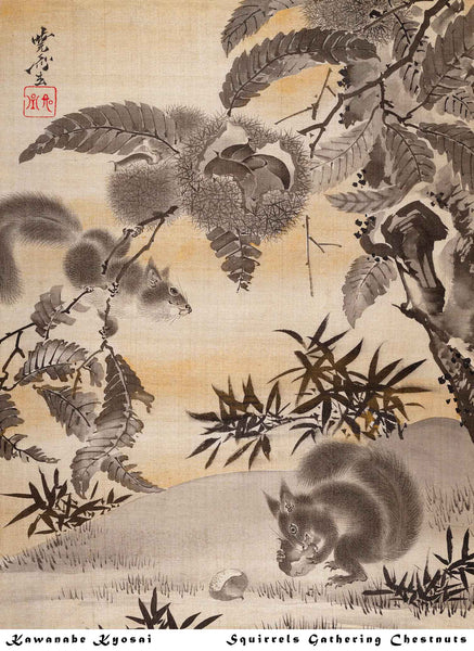 "Kawanabe Kyosai ""Squirrels Gathering Chestnuts"", archival giclee print on washi paper"